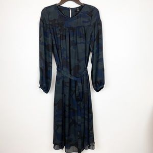 BANANA REPUBLIC NAVY CAMO SHIFT DRESS WITH BELT